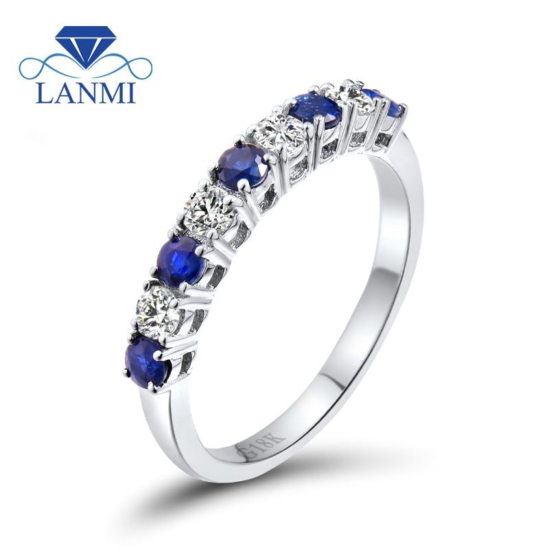 Unazë Stil Infinity Natyrore Blue Sapphire Diamond Band 18K White - Bizhuteri të bukura