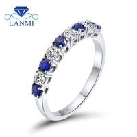 Infinity Style Anneau Naturel Bleu Saphir Diamant Bande 18 K Blanc Or Femmes Bague de Fiançailles Saphir Fin Bijoux SR0353