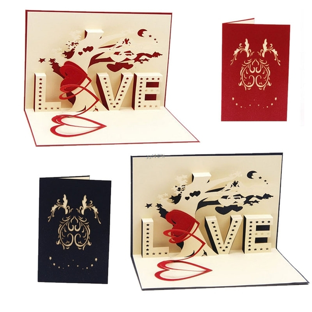 2018 Happy Birthday Greeting Card 3D Pop Up Cards Love Tree Heart Valentine Lover