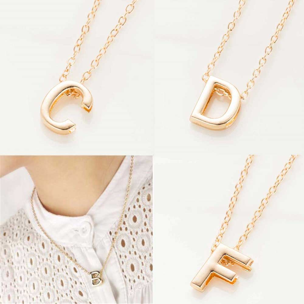 FAMSHIN 2016 New hot sale fashion Womens Metal Alloy DIY Letter Name Initial Link Chain Charm Pendant Necklace