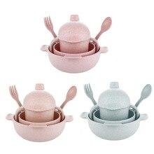 Portable Bamboo Fiber Baby Children Tableware 5pcs/set Children Soup Bowl Spoon Fork Cup Tableware Feeding Set Not Fragile Bowl