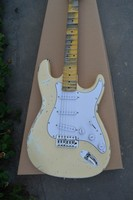 Free shipping Best selling custom shop STR Electric Guitar3 pickups in AGED Retro milk yellow 140610 0801