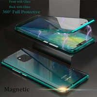 Für Huawei Mate 20 Pro Magnetische Fall Mate20 Vorne + Zurück doppel-seitige 9 H Gehärtetem Glas Fall für huawei Mate 20 Metall Stoßstange Fall