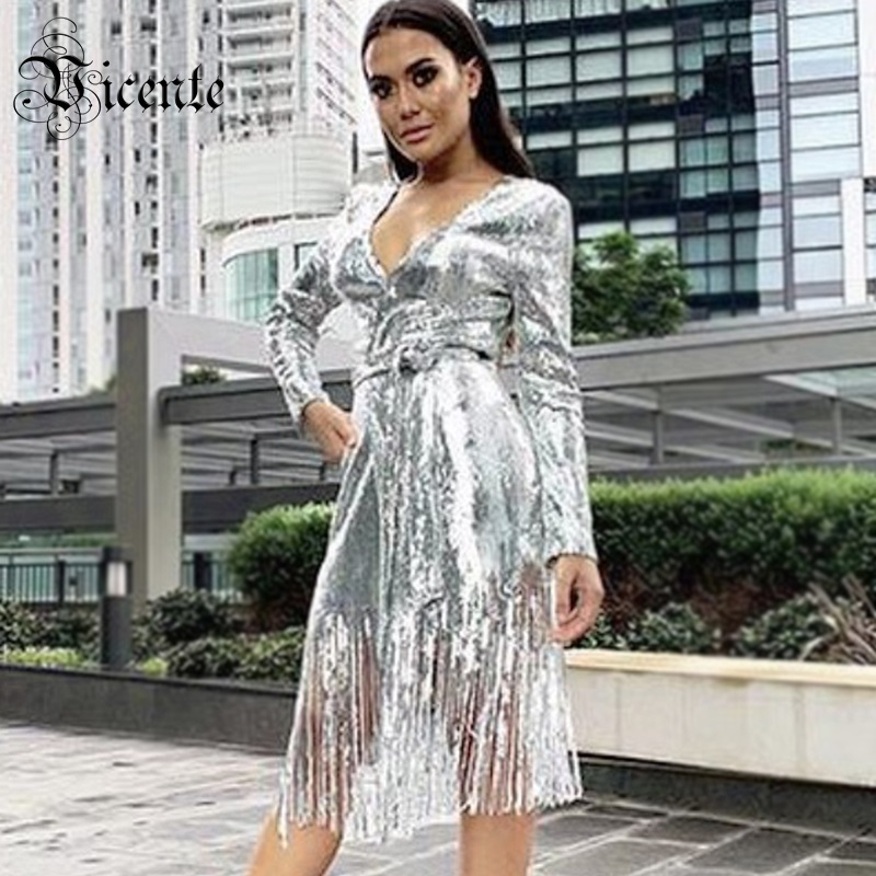 Vicente 2019 New Trendy Silver Sequins Outwear Long Sleeves Sexy V Neck With Belt Casual Party