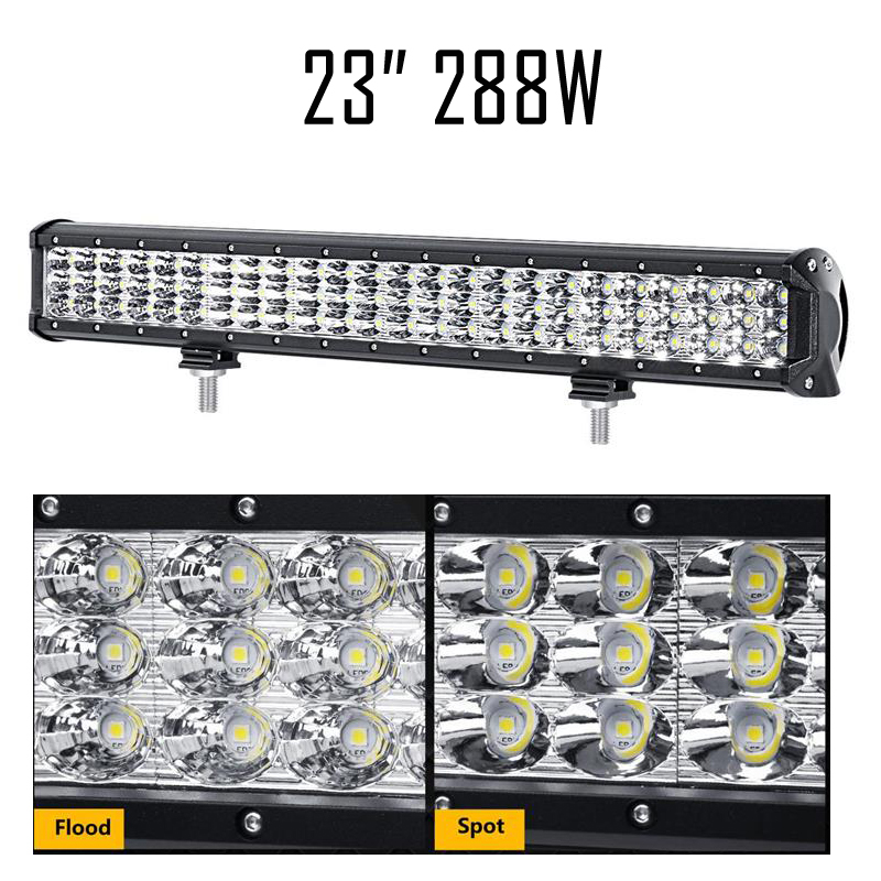 Auxmart LED Light Bar 23 Inch CREE Chips 288W 3 Row Offroad Driving Light Bar for Pickup Truck SUV ATV 4X4 Wagon Car