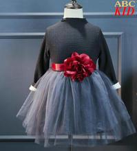 Winter Kleid Baby Mädchen Große Blume TUTU Kleid Dicke Fleece Warme Kleidung Kinder Cocktail party Kleid KC094