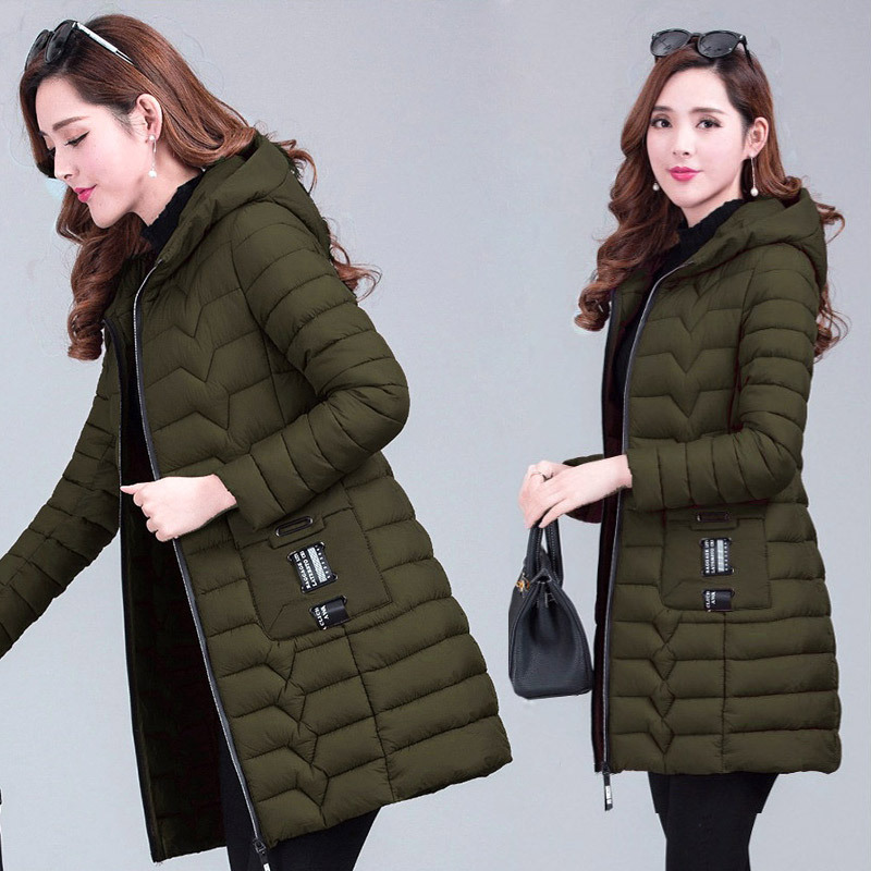 Winter Mantel Frauen 2018 Mode Baumwolle Gefütterte Jacke Frauen Lange Parka Mit Kapuze Mäntel Weibliche Dicke Warme Plus Größe Winter Mäntel frauen