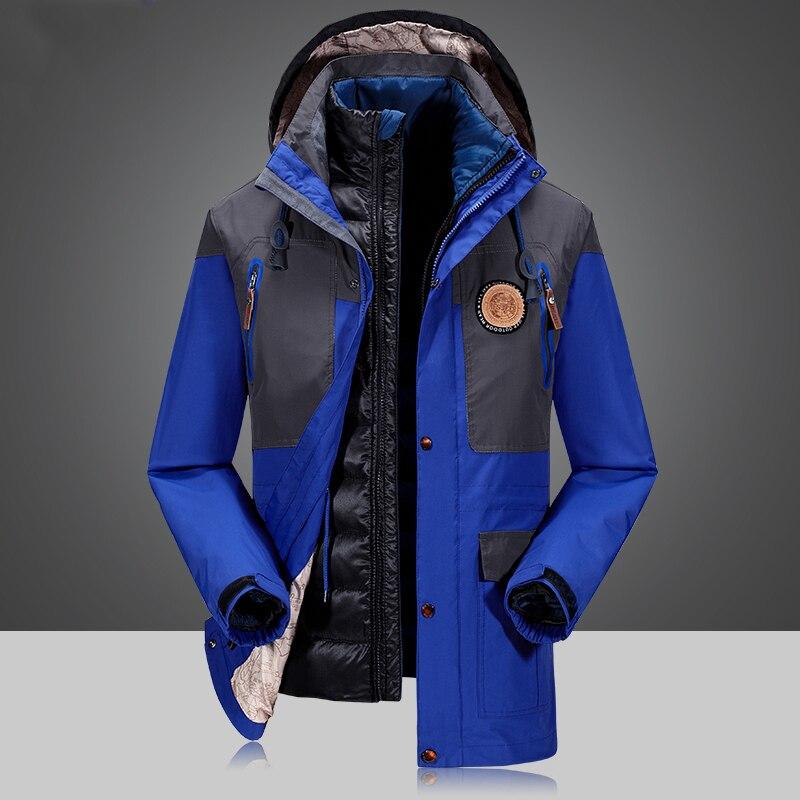 2 Piece Men's Winter duck down jacket man top quality detachable waterproof windbreaker outwear 90% white duck down coat men 4XL - 5
