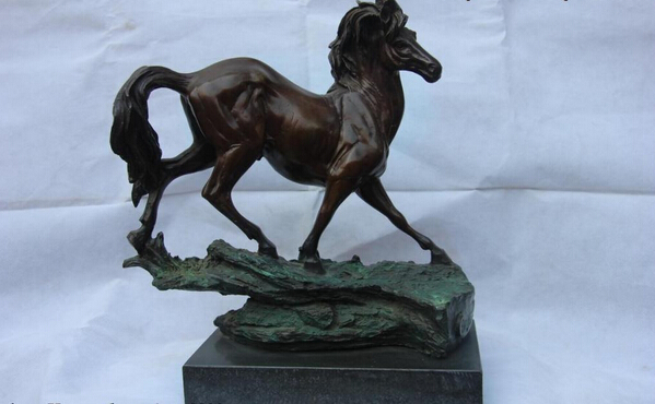 song voge gem S1534 Classic Bronze Sculpture Running Horse on the rocks Art statue base of Marble image