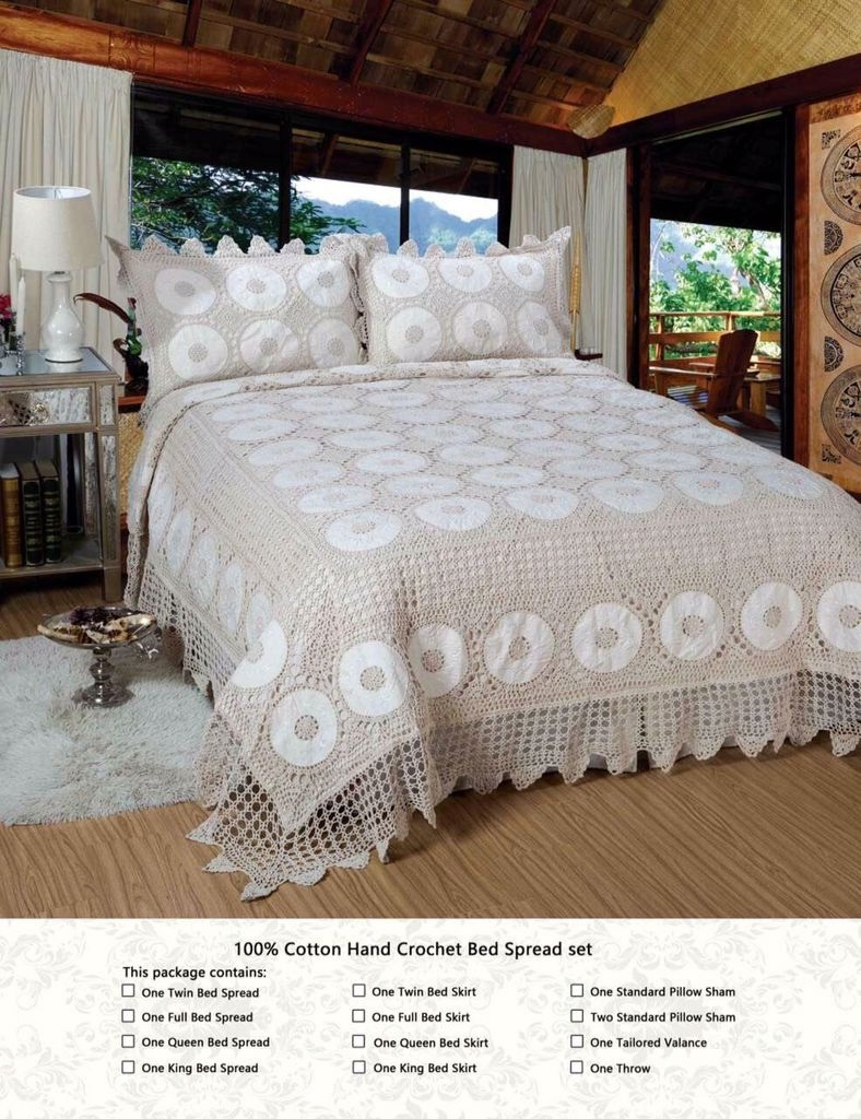 White Luxury King Size Bedspread Set Throw Coverlet Comforter With Pillow Shams
