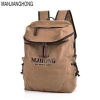 MANJIANGHONG Brand men's Canvas Backpack USB charging Travel Man School Bags male Rucksack high quality Casual Laptop Backpacks