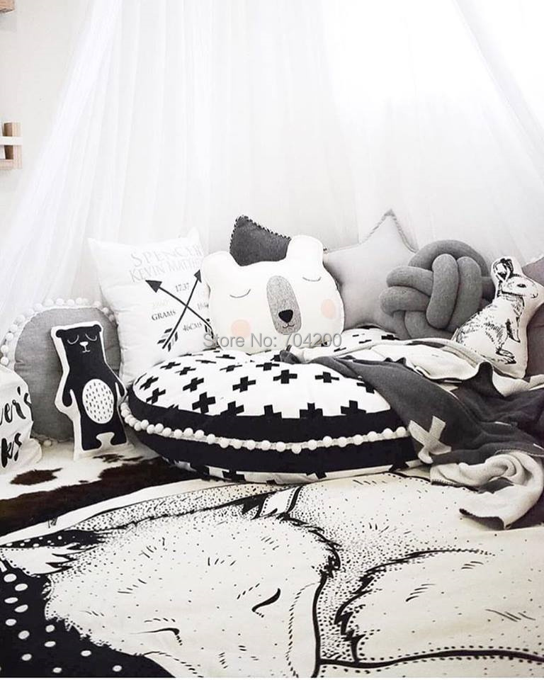 Монохромная Крестовая подушка для пола для младенец и малыш/Детские шапочки/детский игровой коврик