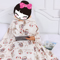 Coral Fleece Casual Nap Blanket with Sleeve Creative Cartoon Prints Wearable Warm and Comfortable Travel Blankets