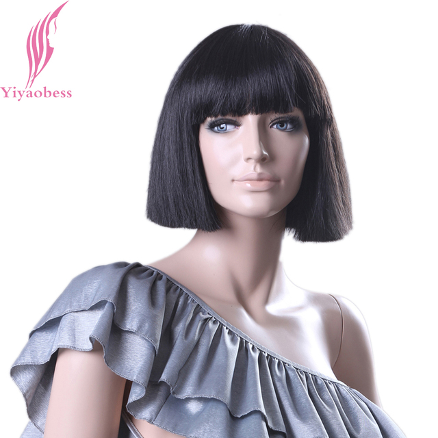 Yiyaobess Short Black Wig With Bangs Personality Design Synthetic Hair  Straight Bob Wigs For White Women d2d4fcef8