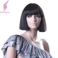 Yiyaobess Short Black Wig With Bangs Personality Design Synthetic Hair Straight Bob Wigs For White Women High Temperature Fiber