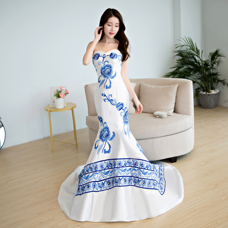 9f3b85ed7e Elegant Blue Porcelain Chinese Sexy Traditional Oriental Evening D...