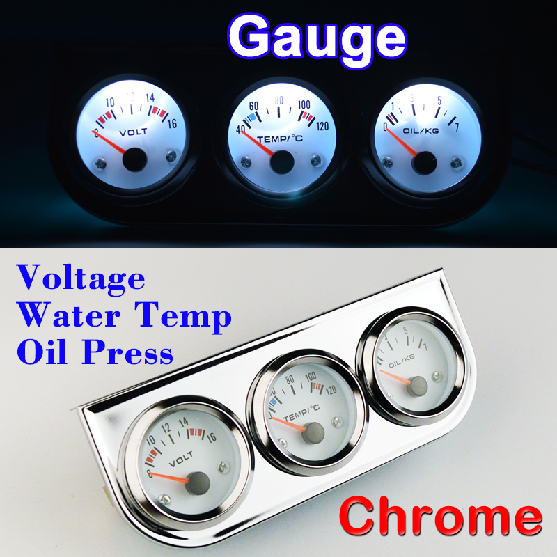 цена DRAGON GAUGE Car Gauge Set Voltage Water Temperature Oil Press 3 In 1 Kit Chrome Triple Car Meter Dashboard Whte Face Red Needle
