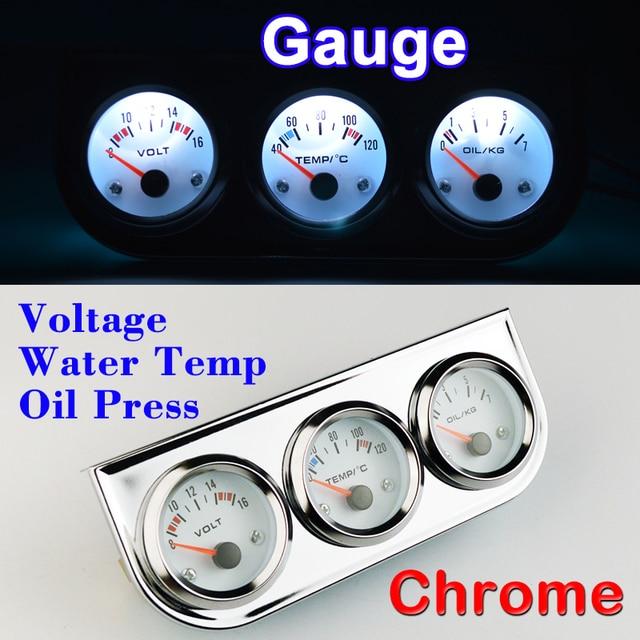 Dragon Gauge Car Set Voltage Water Temperature Oil Press 3 In 1 Kit Chrome Triple