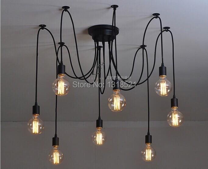 ФОТО Creative vintage Edison lamp plating copper meals chandeliers Mordern Nordic Retro Edison Bulb Light Chandelier Vintage