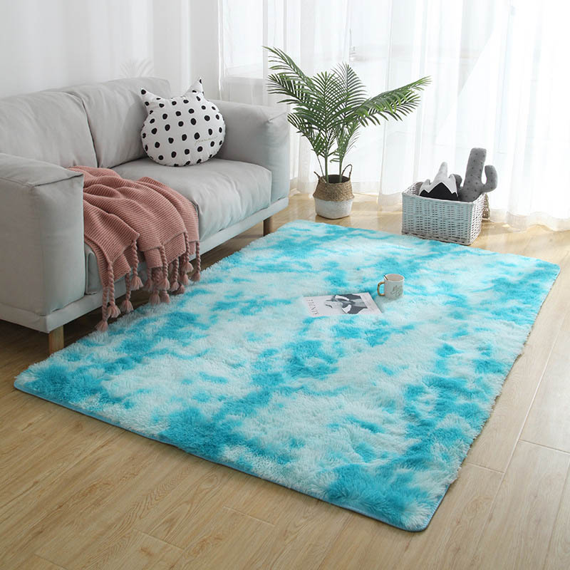 Nordic Sofa Bed Covered With Carpet Living Room Bedroom Long Hair Tie Dyed Gradient Carpet Essential Home Textile Products