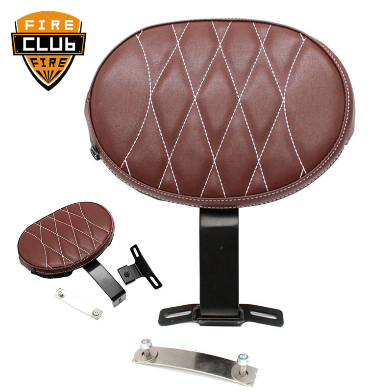 Brown Motorcycle Backrest Adjustable Plug-In Driver Rider Backrest Pad  Leathe For Harley Heritage Softail Fatboy 2007-2