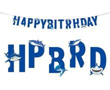 Party modrý dekor pro chlapec oceánu Šťastný narozeniny banner Shark Party Kit Baby Sprcha pod mořem Shark Garland pozadí Decor