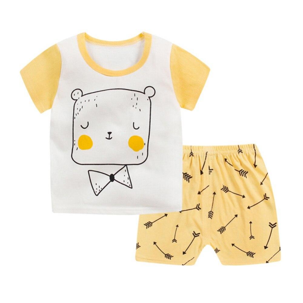 Infant Baby Cartoon Print Short Sleeve T-shirt Tops + Shorts Pants Toddler Boys Girls Casual Cute Summer Sets 2018 New