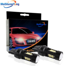 цена на 2pcs 1200Lm T20 7443 LED Bulbs 7440 W21/5W LED Car Lights Turn Signal Brake light Parking light Auto Fog Lamps Red Amber