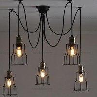 Nordic Retro Edison Bulb Pendant Chandelier Vintage Loft Antique Adjustable DIY E27 Art Spider Ceiling Lamp