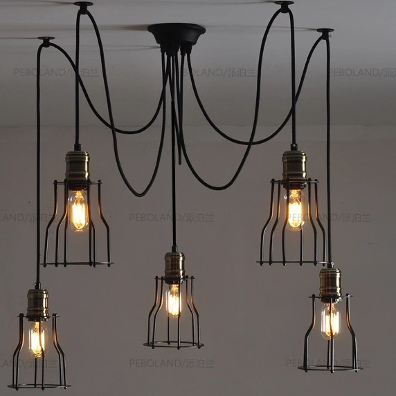 Nordic Retro Edison Bulb Pendant Chandelier Vintage Loft Antique Adjustable DIY E27 Art Spider Ceiling Lamp Lantern Fixture diy vintage lamps antique art spider pendant lights modern retro e27 edison bulb 2 meters line home lighting suspension