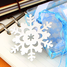 Book Marker Snowflake BookmarksThanksgiving Birthday Gift With Gift Box Winter Flower Pendant Gifts Tassel Favors(China)