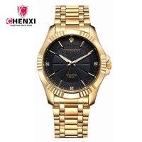 Top Quality Clock Fashion Men Luxury CHENXI Brand Gold Stainless Steel Quartz WristWatches Wholesale Golden Watch