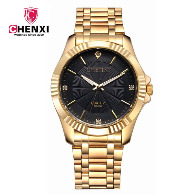 Toppkvalitetsur Klocka Mode Män Lyx CHENXI Märke Guld Rostfritt Stål Quartz Armbandsur Partihandel Golden Watch Man PENGNATAT