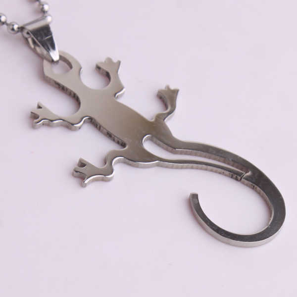 free shipping Silver big Gecko 316L Stainless Steel pendant necklaces bead chain for men women wholesale