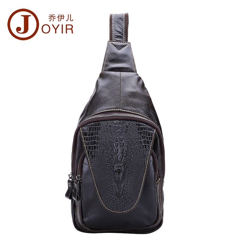 ФОТО 2017 New Arrival Genuine Leather Chest Pack Alligator Pattern Crossbody chest bag casual small shoulder bag for male man bag3215