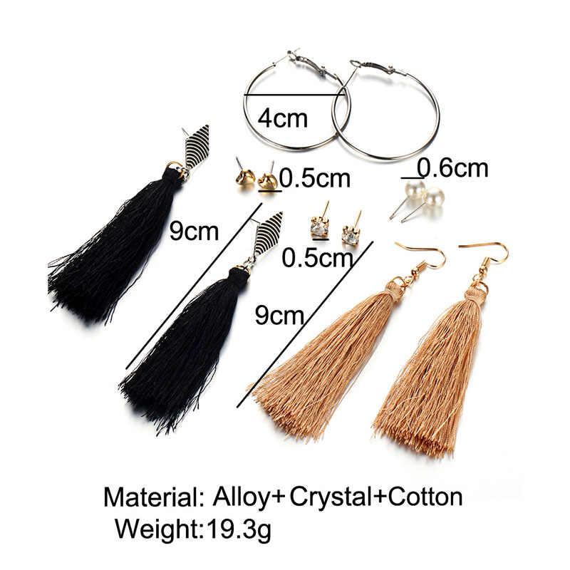 Statement Bohemian Tassels Earrings Set Black Heart Rhinestone Pearl Women's Hanging Fringe Brushes Dangle Drop Earring Jewelry