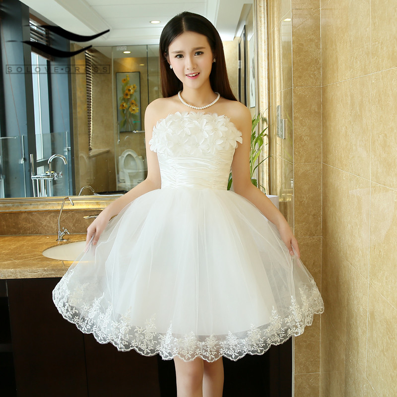 Champagne Lace Short Dress: Cute Ivory Champagne Beading Pearls Flowers Appliques Lace