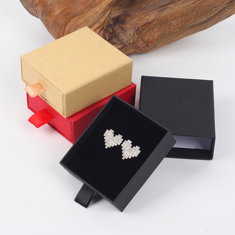 7x8x3cm Kraft Paper Drawer Style Jewlery Boxes 20pcs Red Black Brown Ring Earring Jewelry Display Boxes