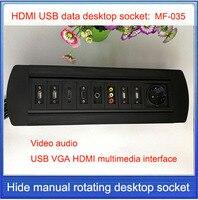 EU Plug Desktop Socket Hidden Manual Rotation HDMI USB VGA AV Video Audio Interface Socket Can