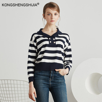 Spring Collection Vintage Navy Style Buttons Full Sleeve Crop Top Knitting Cotton Blue White Striped Women