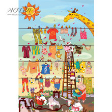 Michelangelo Wooden Jigsaw Puzzles Crazy Washing Cartoon Animals Kids Educational Toy Decorative Wall Painting Gift Home Decor