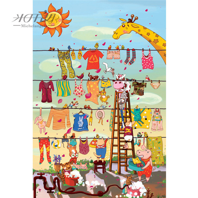 US $19 24 45% OFF|Michelangelo Wooden Jigsaw Puzzles 500 1000 1500 2000  Pieces Crazy Washing Cartoon Animals Painting Educational Toy Home Decor-in