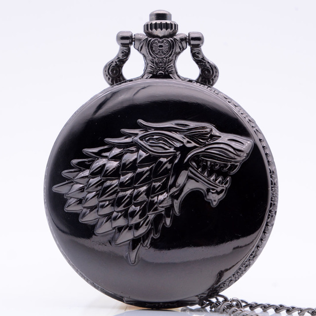 Black Wolf Winter is coming Winterfell:House Starks Family Emblem Color Quartz P