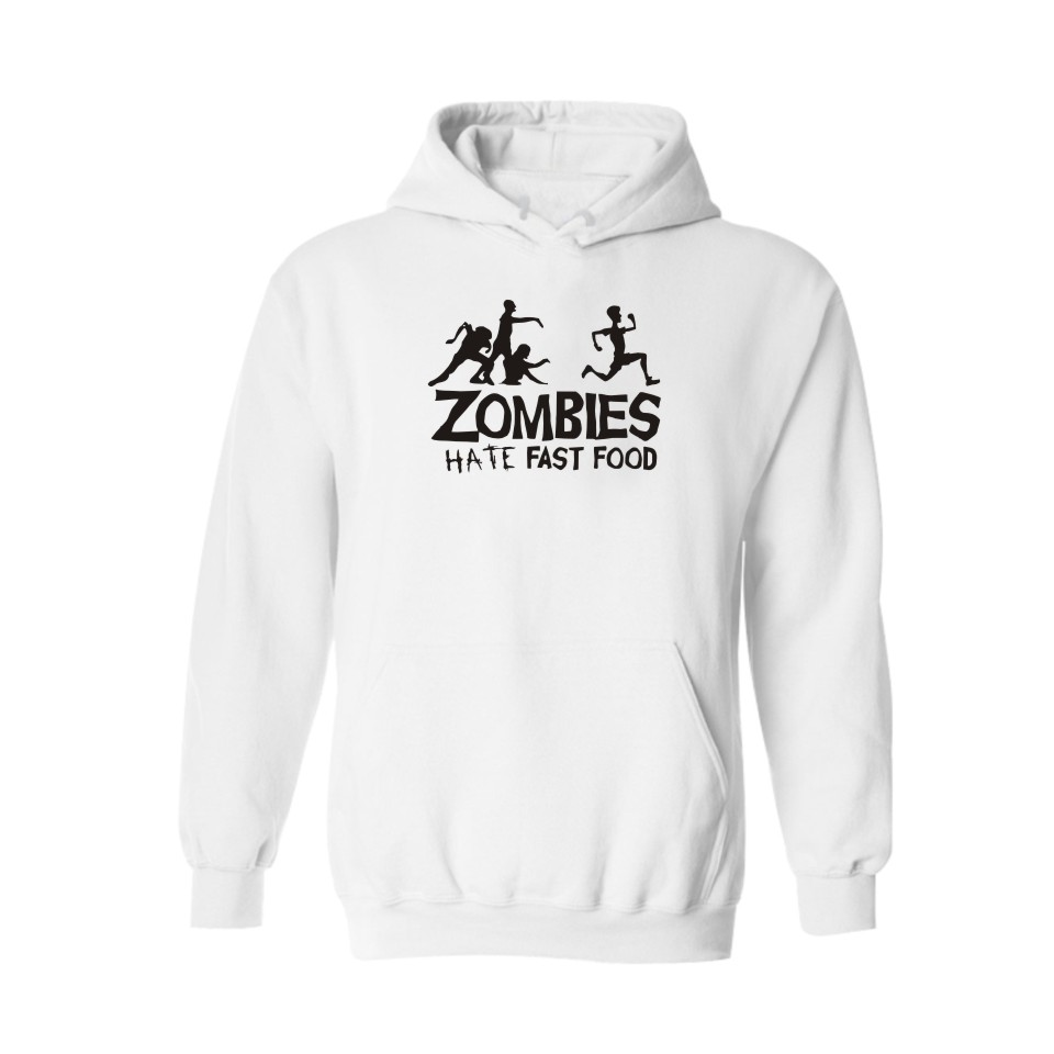 ZOMBIE with Letters Hate Fast Food BlackGray Hooded New Hoodies Men Brand Designer Mens Sweatshirt Men with Hoodies Men Luxury