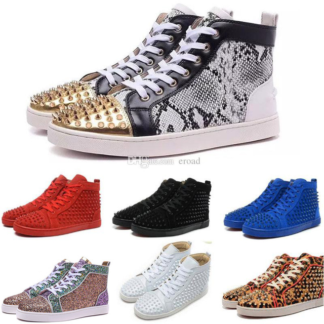 Us 89 8 Red Bottom Sneakers For Men Women Red Bottoms High Top Genuine Leather Spike Shoes Fashion Luxury Designer Wedding Party Shoes في Red