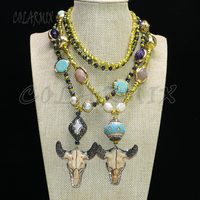 Fashion crystal beaded necklace fashion jewelry Bull skull pendant necklace long necklace 9064