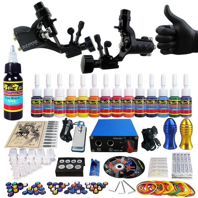 Solong Tattoo Kit de Tatuaje 2 Pro Machine Guns 14 Tintas de Alimentación Aguja Grips Color Set de Maquillaje TK203-19