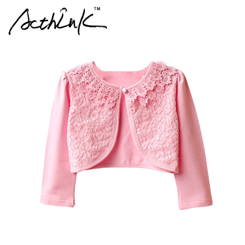 ActhInK New 2017 Girls Lace Long Sleeve Wedding Bolero Princess Style Girls Formal Party Coat Kids Outerwears Waistcoats , MC036
