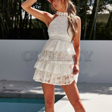 Cuerly Women Mini Dress Summer White Elegant Hollow Out Party Sexy Club Halter Sleeveless Ruffles Lace Cake Dress Vestidos все цены