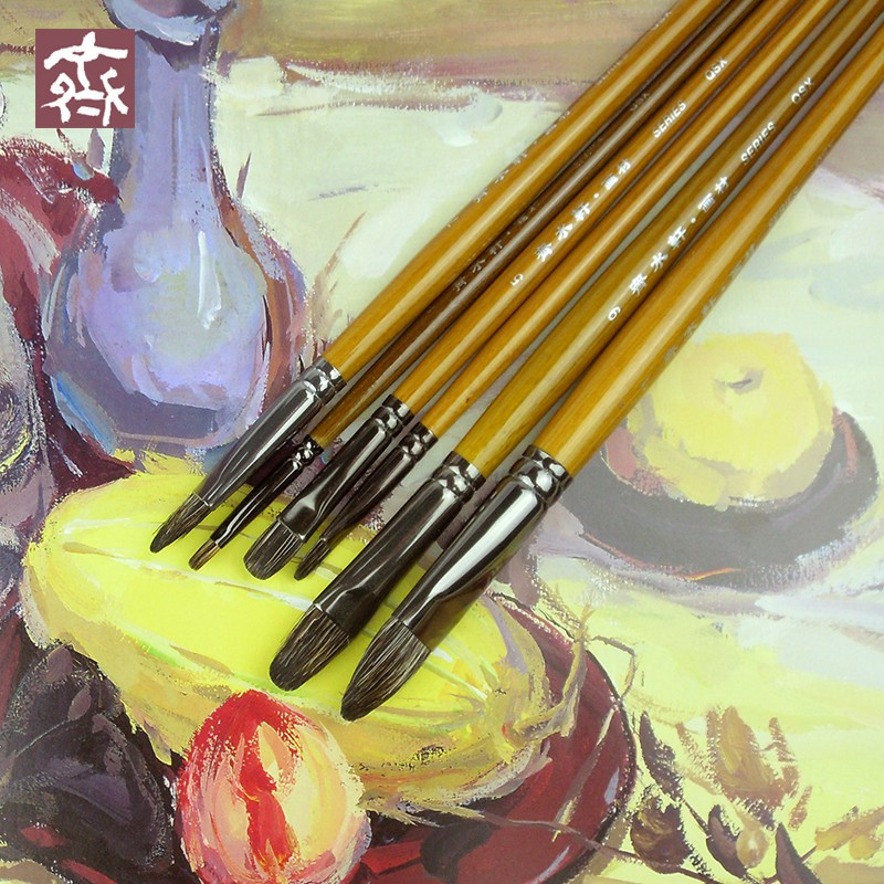 6Pcs Qishuixuan Fine Badger Hair Oil Paint Brush Set Arc Head Rough Strokes Acrylic Brushes Art Supplies For Artist